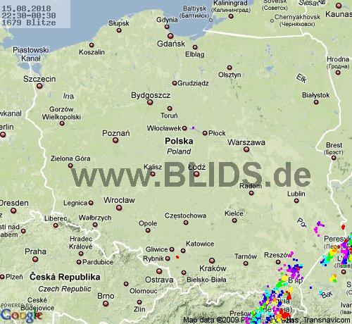 Lightning Poland 22:30 UTC Wed 15 Aug
