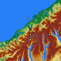 Nearby Forecast Locations - F. Josef Glacier - Map