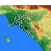 Nearby Forecast Locations - Santa Ana - Map