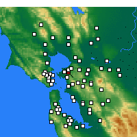 Nearby Forecast Locations - El Sobrante - Map