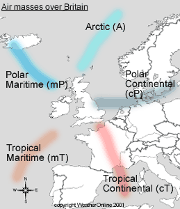 Air masses over Britain